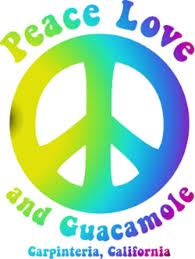 Carpinteria Avocado Festival Logo, words Peace, Love and Guacamole around a '60s-style peace symbol