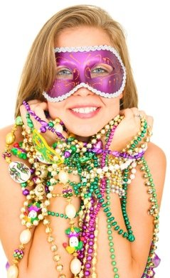 Mardi Gras Masked Girl with Beads