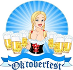 Biermaid with six steins, 'Oktoberfest' text at bottom